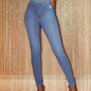 Fashion Nova medium blue wash high waisted jeans